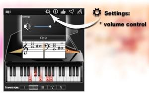 Settings: volume control.