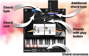 Chord  root, Chord  type,  Additional  chord type, Chords with play  button, Chord inversions.