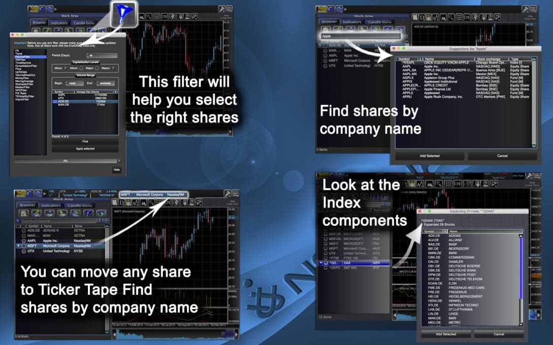 This filter will  help you select  the right shares.You can move any share to Ticker Tape Find  shares by company name.Find shares by company name.Look at the Index  components.