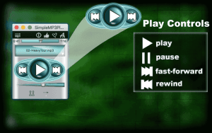 Play Controls:play,pause,fast-forward,rewind